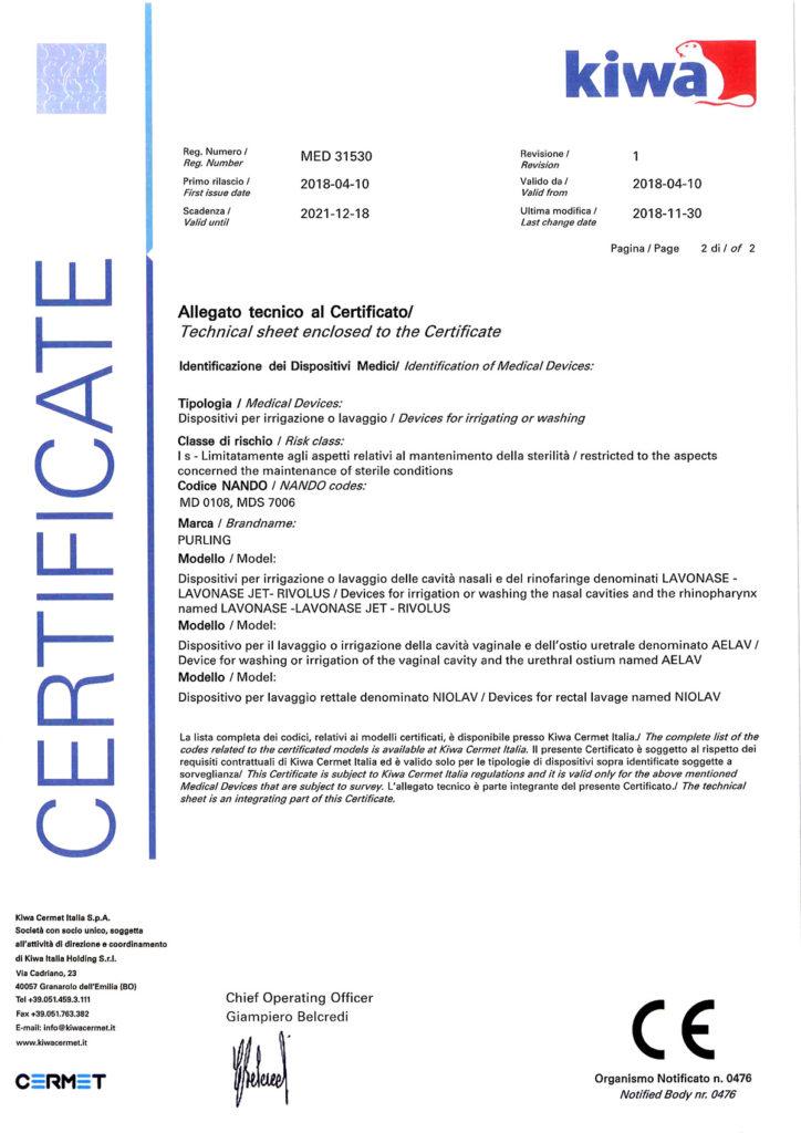 Certificato CE - Purling Srl